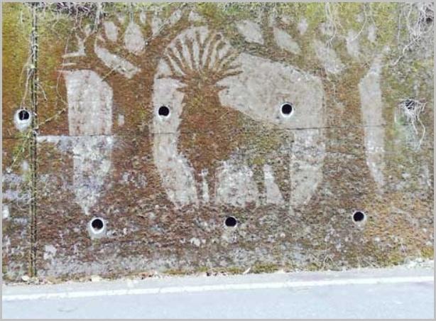 苔を削って描かれたジブリキャラクター(シシ神さま)